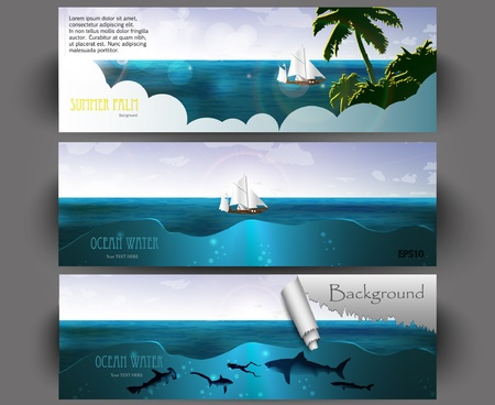 hotness: Summer holidays banners vector set