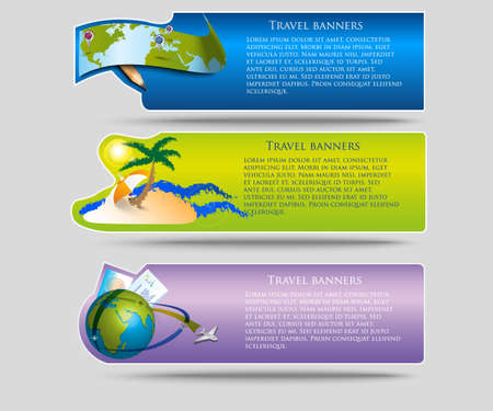 airplane ticket: Vector travel banners