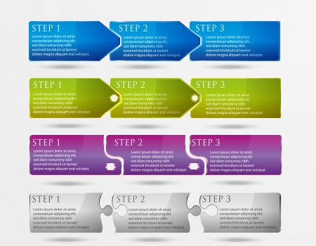 sales process: Vector horizontal steps  4 styles and 4 colors