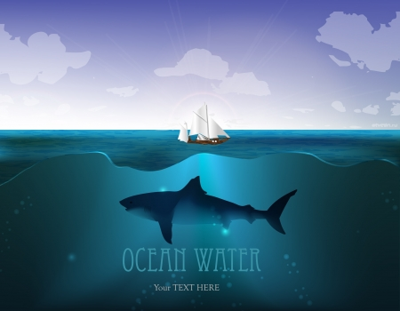 Vector Ocean water with a Yacht and shark Vector