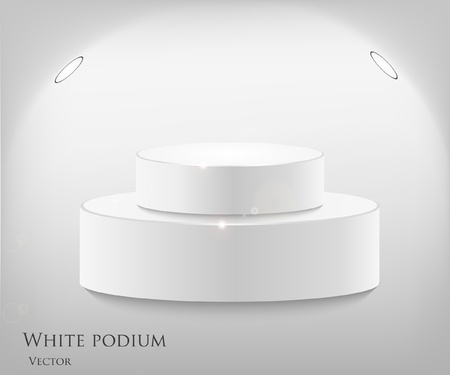 3d isolated Empty white podium on gray background  Vector illustration Vector