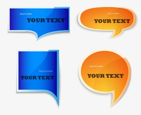 yellow and blue quote speech bubble Vector