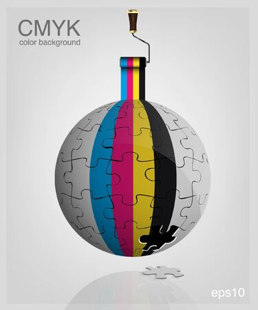 3d globe made from puzzle pieces  CMYK  Print colors paint-roller  Vector