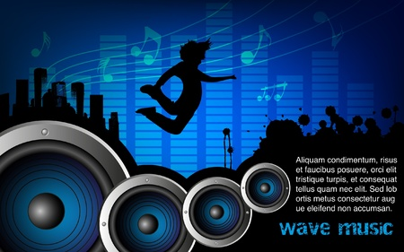 Abstract background with speaker and music bar