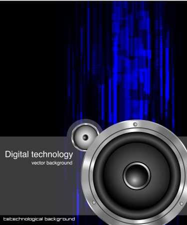 Abstract digital technology lines with acoustic speakers Vector