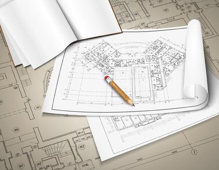 アーキテクチャの背景、建築プロジェクト、建築計画、技術的なプロジェクト、技術的な手紙、仕事では、アーキテクチャの計画建設計画、紙の上