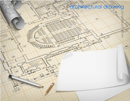 Architecturale achtergrond Een deel van architecturaal project, bouwkundig plan, technisch project, tekening technische brieven, architect op het werk, Architectuur planning op papier, bouwplan