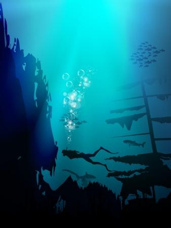 paesaggio mare: Bello e pericoloso mondo sommerso con squali e vecchia nave