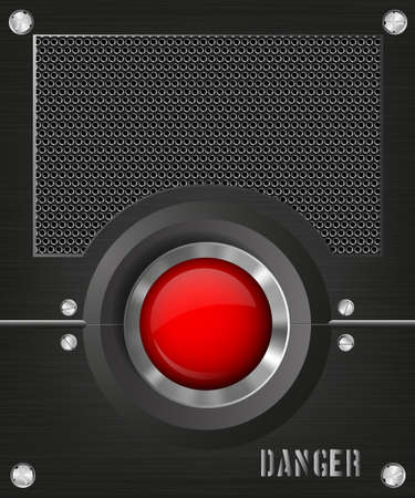 chrome button: dark background with a red button and speaker Illustration