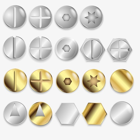 bit: Bolts And Screws, Isolated On White Background, Illustration