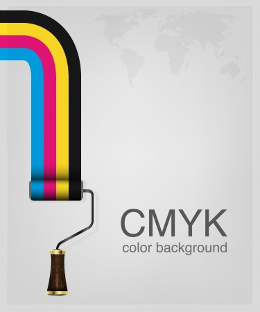 offsetdruck: CMYK Druckfarben Farbroller