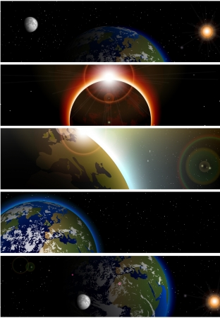end of the world: Collection of 5 banners for website space theme