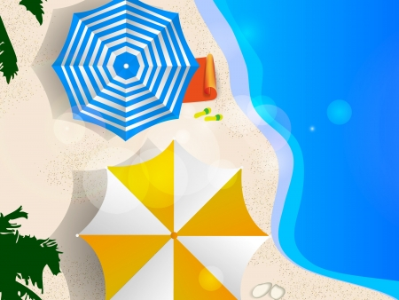 Couple of umbrellas on the beach, graphic art Vector