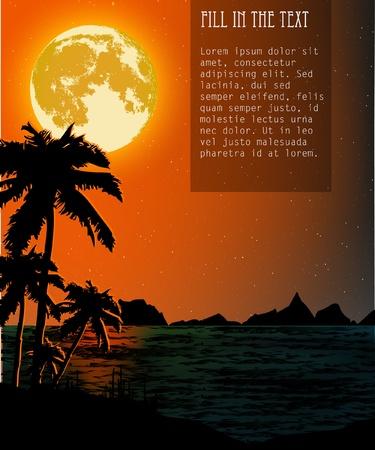 Dusk on the beach illustration Stock Vector - 14182070