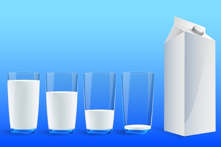 milk glass: four glasses of milk to fill the Service Illustration