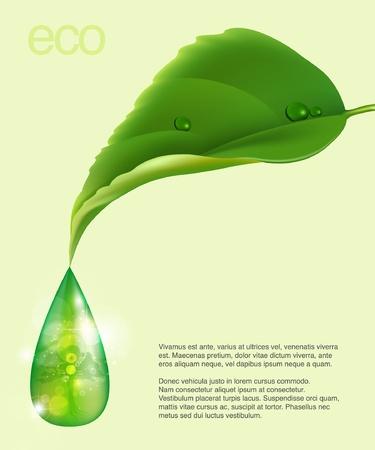 icono ecologico: dibujo hoja con una gota de tema eco