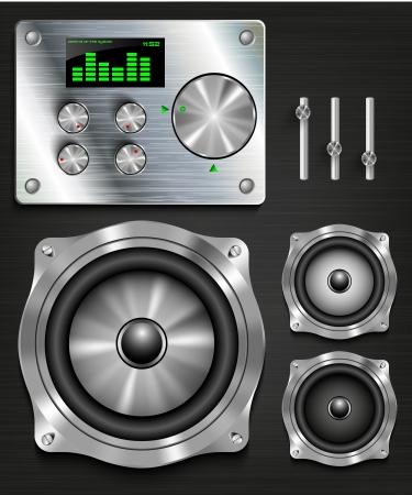 equipo de sonido: consola de administración del sistema de altavoces conjunto knovok y los reguladores, pantalla, ecualizador y el reloj Vectores