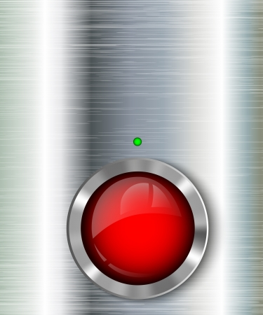 metal background with power button, illustration Vector