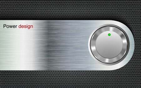 power button on a metal background Vector