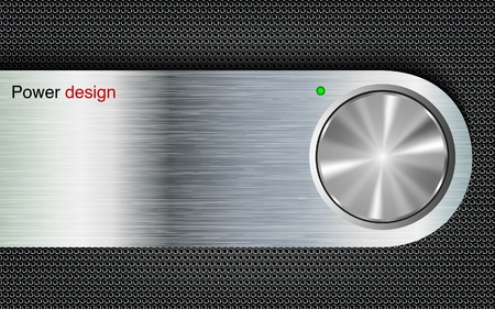 chrome button: power button on a metal background Illustration
