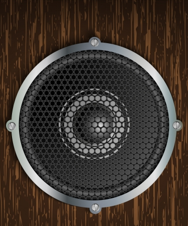 audio speaker on a wooden background Stock Vector - 14177943