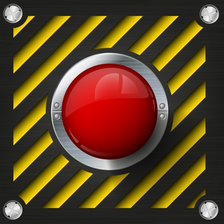 start button: Red alarm shiny button on a tech beckground