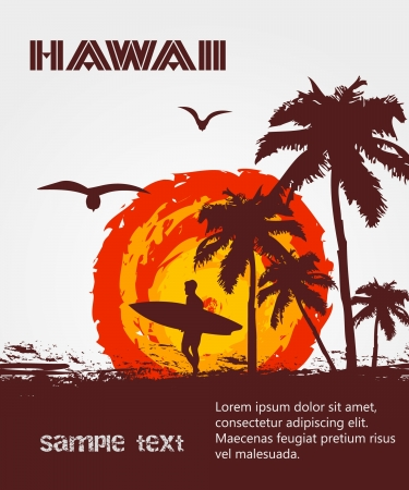Silhouette of the surfer, tropical beach Vector