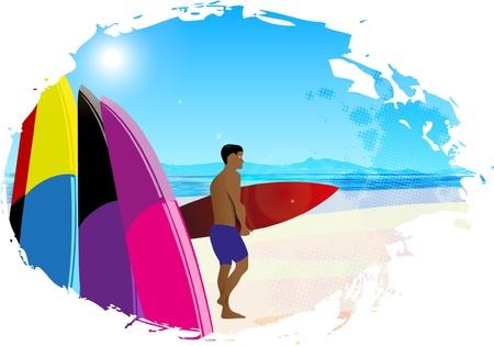 surfer vector: Artistic designed background with surfer  Vector illustration