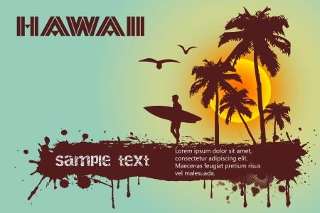 hawaiana: Silueta de la persona que practica surf, playa tropical Vectores