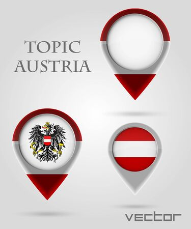 Topic Austria Map Marker Stock Vector - 14177912