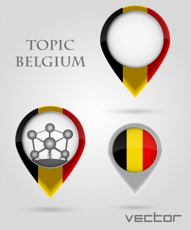 Topic Belgium Map Marker Stock Vector - 14177887