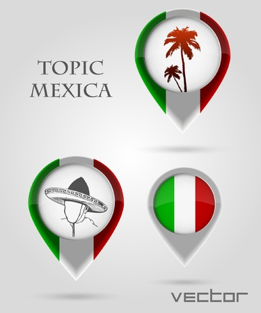 Topic Mexica Map Marker Stock Vector - 14177882