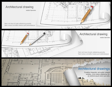 Architectural background  Part of architectural project, architectural plan, technical project, drawing technical letters, architect at work, Architecture planning on paper, construction plan  banners