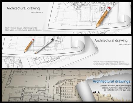 arquitecto: Parte de fondo sobre la arquitectura del proyecto arquitectónico, proyecto arquitectónico, proyecto técnico, dibujo técnico letras, arquitecto en la planificación de la arquitectura de trabajo, en el papel, banderas de la construcción del plan