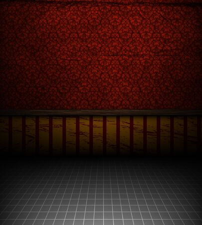 filigree background: Empty old grungy room with red vintage wallpaper