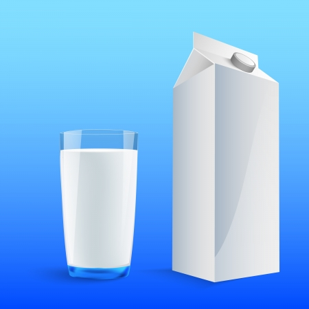 Glass of milk with a big blank milk pack Stock Vector - 14292063