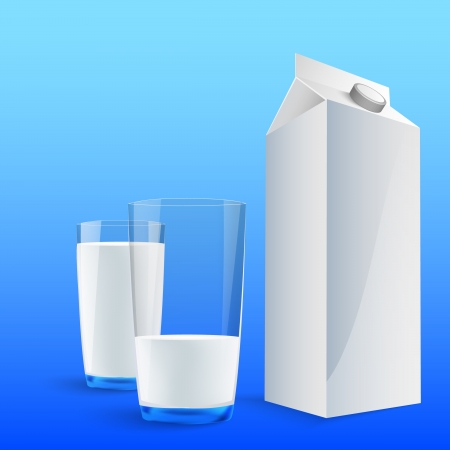 Glass of milk with a big blank milk pack Stock Vector - 14292065