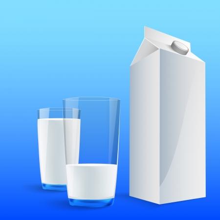verre de lait: Un verre de lait avec un pack de lait grand vide