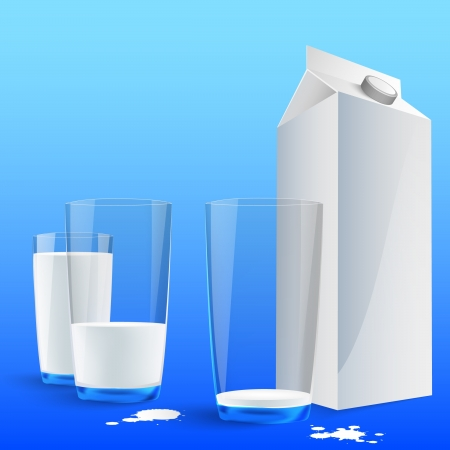 Glass of milk with a big blank milk pack
