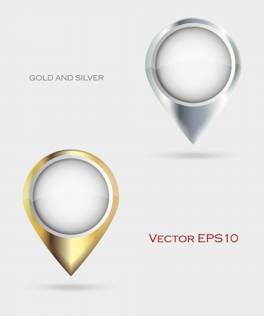 Gold and silver Map Markers  Vector