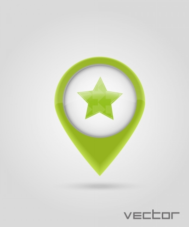 green Map markers with star Vector