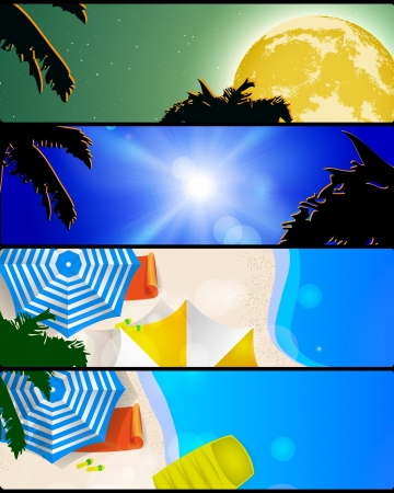 illustration of summer holidays banner set Vector