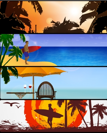 Vector illustration of summer holidays banner set Illustration