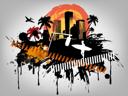 Summer Palm City Vector Illustration Stock Vector - 14424466