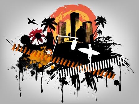 miami: Summer Palm City Vector Illustration Illustration