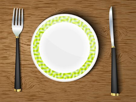 an empty plate with cutlery on a wooden table Vector