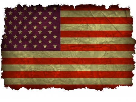 an Grunge American flag with charred edges Vector