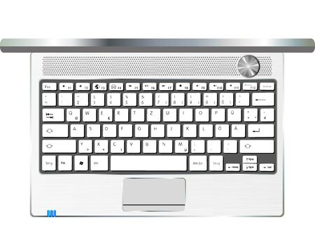 topdown: an open laptop in metallic color  top-down view Illustration