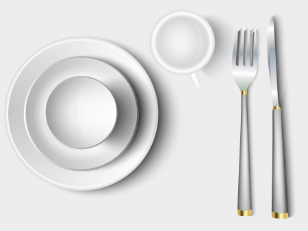 cutlery and crockery set of white on a light background Vector