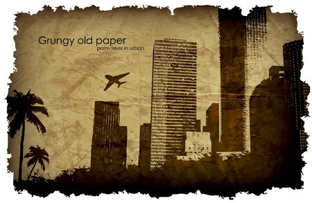 grungy old paper with a big city Vector